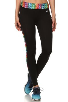 abf1888bf9341 Assorted Color Abstract Waist Activewear Leggings with Side Phone Pocket  Leggings Depot