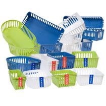 Organize office supplies, toiletries, craft supplies, etc. with these cute plastic baskets available in 4 different sizes. #DollarTree