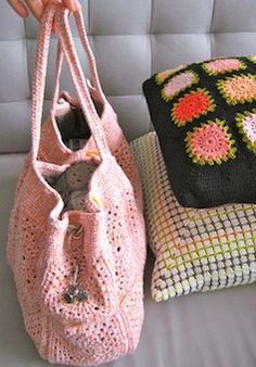 Apricot bag crochet pattern - the great thing about this pattern is that it is made with squares so you can use your favorite square pattern to create this bag.