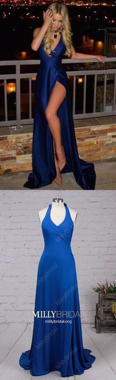 Long Prom Dresses With Slit,Royal Blue Prom Dresses V-neck,Silk-like Satin Prom Dresses Open Back,Sexy Prom Dresses Backless