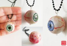 Halloween Eyeball Necklace, Realistic Eye Pendant, Spooky Creepy Eye, Anatomical Jewelry, Scary Halloween Jewelry, Choose your Color