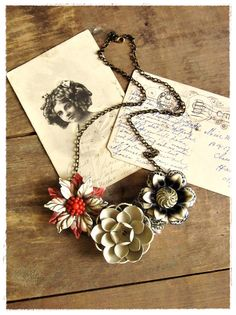 Vintage Flower Bib Necklace, Red, Brown, Blach, Autumn Floral Collage Statement Necklace, Eco Friendly Bohemian Jewelry