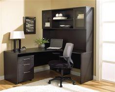 modern espresso lshaped desk with hutch u0026 mobile pedestal