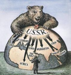 Koude Oorlog propaganda  , hier zie je de beer van de sovjet unie dat de wereld zou overnemen en Amerika niks