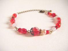 Red bracelet glass beads bracelet beaded bracelet by Coloramelody