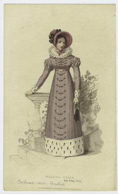Walking Dress February 1822 Loretta reports: With last month's fashion plates , I mentioned the style change that began after Waterloo. Fashion Illustration Vintage, Illustration Mode, Illustrations, Regency Dress, Regency Era, Historical Costume, Historical Clothing, Female Clothing, Jane Austen