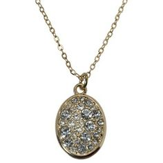 Oval Clear Pave Short Necklace - Gold, from Target.  $14.99