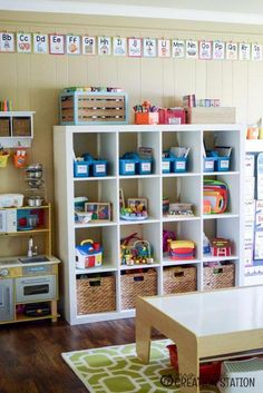 Playroom and Homeschool Classroom Tour Playroom Homeschool Classroom Combination Childminding Room, Childminding Ideas, Daycare Spaces, Home Daycare Rooms, Basement Daycare Ideas, Daycare Setup, Childcare Rooms, Preschool Rooms, Playroom Organization