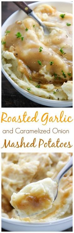 Roasted Garlic and Caramelized Onion Mashed Potatoes - this side dish will be the talk of your holiday table! Potato Dishes, Potato Recipes, Vegetable Recipes, Onion Recipes, Roast Recipes, Side Dish Recipes, Side Dishes, Dinner Recipes, All You Need Is
