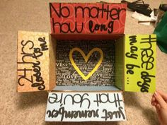 "care package idea!!!! This quote!❤️ ""no matter how long these days may be, just remember that you're 24 hours closer to me"" so true! take it day by day!(:"