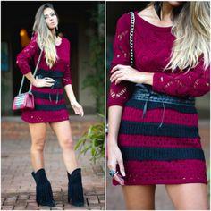 Looks Inverno - vestido burgundy tricot
