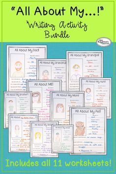 """These fun printable worksheets are an easy way to get your kiddos writing! Perfect for units on family and a real treat to show parents at Open House or in year-end portfolios.   This bundle contains all 11 previous """"All About..."""" worksheets including:  - All About ME! - All About My Dad! - All About My Mom! - All About My Grandpa! - All About My Grandma! - All About My Uncle! - All About My Aunt! - All About My Sister! - All About My Brother! - All About...! Blank template"""