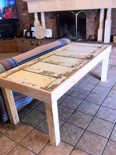 old doors made into tables | Had my old door made into a table, now to shabbylicious it! Hmmm ...