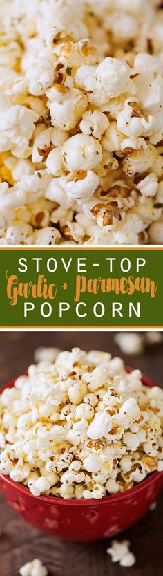 Garlic Parmesan Stove-Top Popcorn - So simple to make and so yummy! #popcorn #garlicparmesanpopcorn #garlicbutterpopcorn | http://Littlespicejar.com
