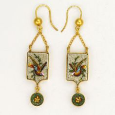 Victorian Micro Mosaic Silver Gilt Bird Earrings - Pierced Ears