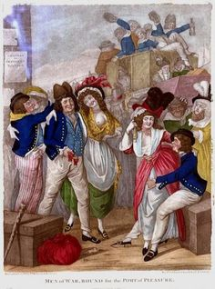 """""""Men of War, Bound for the port of Pleasure"""". 25 April 1791. Unknown artist. National Maritime Museum, London"""