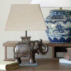 Elephant Desk Lamp, Bronze #bronze #lamp #elephant #lighting #oka