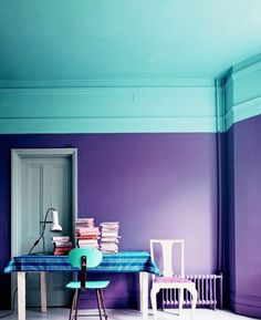 Love The Paint Idea These 2 Colors Together Purple And An Aquaish Cyan Color Really Like That Ceiling Is Coming Down Walls Must Have High