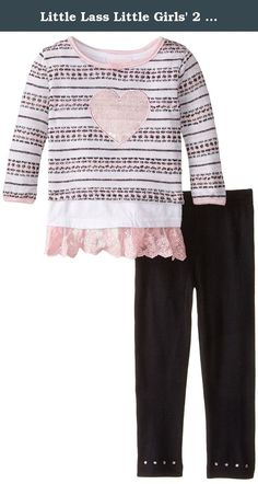 Little Lass Little Girls' 2 Piece Legging Set Sweater with Lurex, Black/Pink, 6. Little lass offers cute and comfortable styles with quality construction. She is adorable in this 2 piece legging set with a light weight printed novelty sweater knit with silver lurex, solid tank, and solid knit legging.