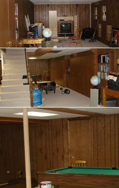 Painted paneled basement revealed...a great idea to paint our basement white