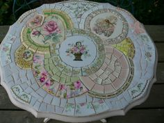 China Mosaic Flower Fairy tiled table top, ungrouted