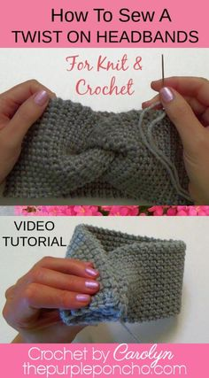 Headband DIY Video Tutorial: How To Sew A Twist On Headbands This DIY video tutorial will show you how to sew a seam into an attractive twist on your knit and crochet headbands and ear warmers! It's really simple too. Crochet Headband Free, Crochet Headband Pattern, Crochet Fabric, Knitted Headband, Knit Or Crochet, Crochet Ear Warmers, Crocheted Headbands, Crochet Hats, Sewing Patterns Free