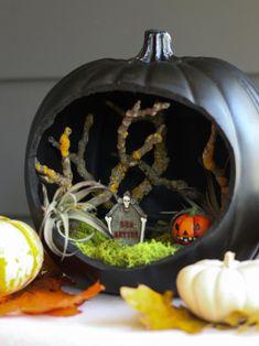 Wonderful Spooky Handmade Halloween Wreath Designs For Your Front Door 2 43 - Aksa. Halloween Diorama, Halloween Shadow Box, Samhain Halloween, Halloween Fairy, Easy Halloween Crafts, Halloween Scene, Halloween Home Decor, Holidays Halloween, Holiday Crafts