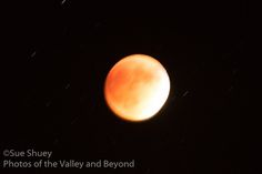 Blood Moon during the September 27, 2015 eclipse.  Notice the star trails caused by time elapse.