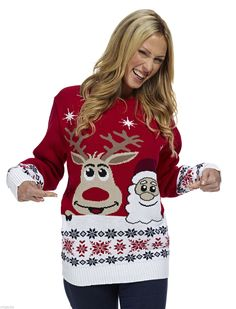 Kersttrui rendier/santa rood - Kersttrui kopen - Bestel nu uw foute kersttruien online