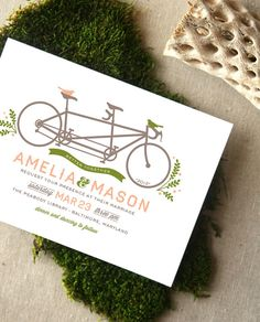 Tandem Bicycle and Birds Wedding Invitation by CheerUpCherup, $3.75
