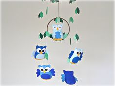 Hanging owl mobile - Nursery baby mobile - Felt blue shades in glacier, colbalt, bluejay and sapphire - Made to order