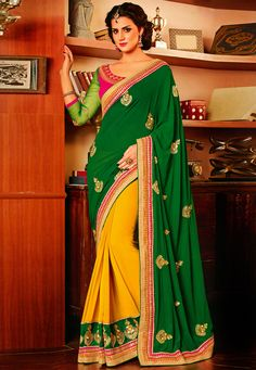 #Green and Yellow #Saree with Blouse