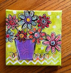 Original Small Sweet MixedMedia Darling Floral by dishy art on Etsy