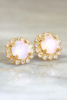Pink Opal Earrings Cotton Candy Earrings Marshmallow Pink by iloniti on Etsy  http://etsy.me/1RIbMN6