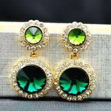 Envío Gratis 2013 de Alta Calidad de Marca de Fábrica Grande de Cristal Gema Verde Cuelga Los Pendientes de Gota de Joyería de Moda…