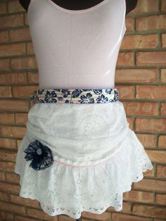 Lacy Romantic Bridal  Shabby Chic Half Apron with Eyelet Lace Flower and Rick Rack