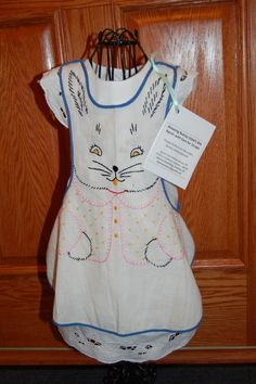 Vintage Embroidered Bunny Child's Apron.