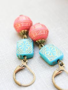 Beaded Earrings, Long Dangle Earrings, Teal Turquoise Blue, Coral Pink, Lightweight Earrings, Gold Patterned Drop, Boho Chic, Gift for her, on Etsy, $24.00