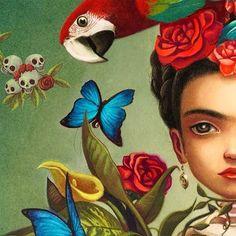 Frida Kahlo by Benjamin Lacombe Art And Illustration, Illustrations, Frida And Diego, Frida Art, Arte Sketchbook, Diego Rivera, Mexican Folk Art, Pop Surrealism, Art Plastique