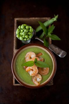 ♂ Still life food styling photography Minty Sweet Pea and Zucchini Soup with Garlic Shrimp