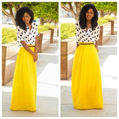 Polka dot shirt + Paper bag waist maxi. Add a hijab and your good to go!