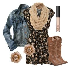 Fall outfit with boots! So cute! Love boots with skirts and a denim jacket!! Love!