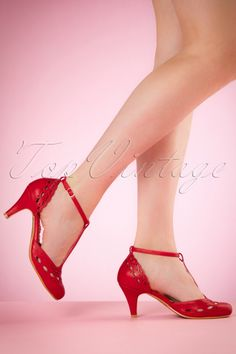 Bettie Page Shoes Raine T strap Red Pumps 401 20 19958 02232017 003W