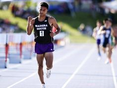 Madera South High's Eduardo Herrera pumps his fist after win the 1,600 at the Central Section Master Track and Field Championships May 21, 2016, at Buchanan's Veterans Memorial Stadium. He returns there for the CIF State meet, trying to deliver the first state gold in school history.