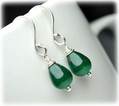 Natural Jade Earrings, Sterling Silver Earrings, Green Earrings Small Dangle Earrings Drop Earrings, Handmade Jewelry Christmas Gift for mom.  Elegant, simple and unique earrings with jade, March's Mystical Birthstone! They will be perfect as your bridesmaids gift or for your nature inspired wedding! Wear them with your black dress or with your jeans! Green jade matches with every colour and will add class to every outfit!