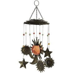 Pier 1 Imports Solar Sun Windchime (€17) ❤ liked on Polyvore featuring home, home decor, fillers, decor, furniture, accessories, backgrounds, colorful home decor, pier 1 imports and star home decor