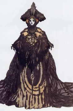 "Costume illustration for ""Queen Amidala"" (Natalie Portman), 'StarWars Episode I: The Phantom Menace' 1999. Costume designer, Trisha Biggar."