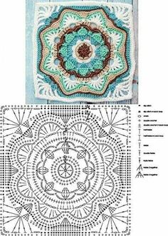 Looks like a double and treble crochet on those points of the grannies. Single crochet around the grannies, then single crochet the grannies together to make the seam ridge. The Ultimate Granny Square Diagrams Collection ⋆ Crochet Kingdom - Salvabrani Motif Mandala Crochet, Granny Square Crochet Pattern, Crochet Chart, Crochet Diagram, Crochet Squares, Crochet Blanket Patterns, Crochet Stitches, Knitting Patterns, Crochet Granny