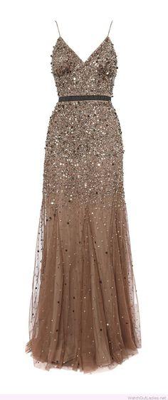 Wonderful long glitter dress design