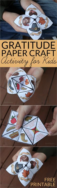 Help children practice thankfulness with this gratitude activity for kids. This easy Thanksgiving craft is a free printable Thanksgiving Cootie Catcher. Learn how to fold a cootie catcher / paper fortune teller. (fall crafts for kids printable) Thanksgiving Activities For Kids, Thanksgiving Crafts For Kids, Holiday Activities, Thanksgiving Decorations, Craft Activities, Holiday Crafts, Holiday Fun, Fun Crafts, Holiday Parties